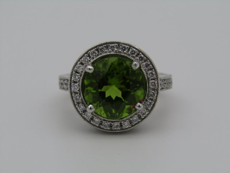 18kt gold peridot and diamond ring.