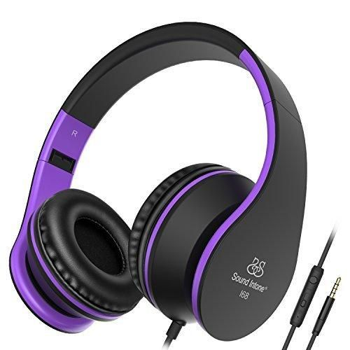 Headphones Sound Intone Headphones with Microphone Foldable Headsets with Inline Volume Control Strong Low Bass for iPhone iPad Smartphones Laptop Mp3/4 Earphones (Black Purple)