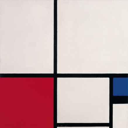 Piet Mondrian  Composición de colores/  Composición n.º I con rojo  y azul  Composition in Colours /  Composition No. I with Red  and Blue  1931  Óleo sobre lienzo  Oil on canvas  50 x 50 cm  Museo Thyssen-Bornemisza,  Madrid