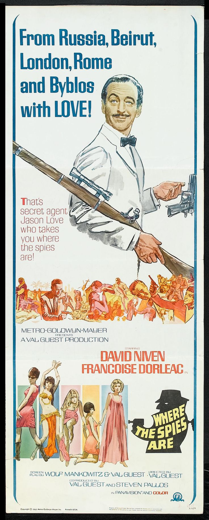 Where the Spies Are (1966) Stars: David Niven, Françoise Dorléac, John Le Mesurier, Cyril Cusack, Eric Pohlmannm, Richard Marner ~ Director: Val Guest
