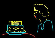 """Neon animated image of a woman blowing out the candles on a cake with the message """"Happy Birthday"""""""