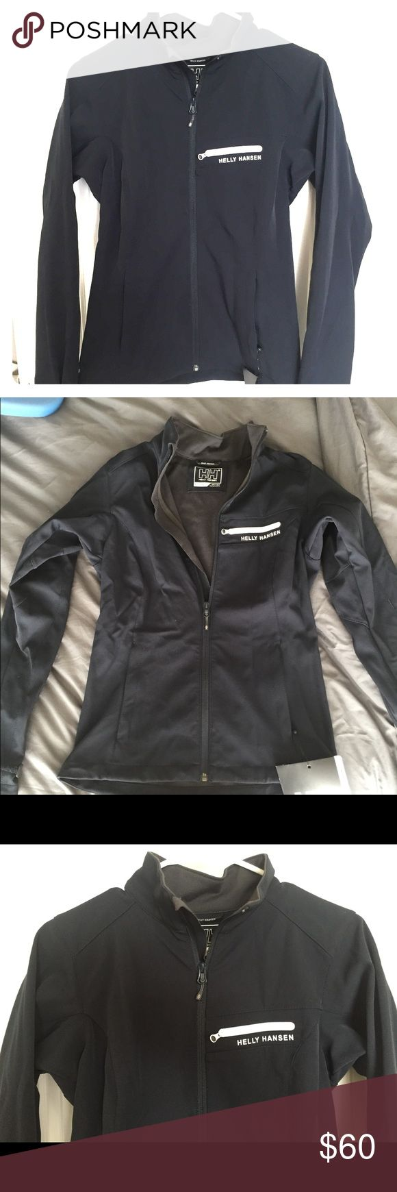 Brand new! XS Helly Hansen paramount zip up Brand new! XS Helly Hansen paramount soft shell jacket. Dark blue. Gray on inside. Warm! Bought at outlet, never worn. Waaaaaay too many jackets. Same style as Northface apex jacket. NWT. Non smoking home. Helly Hansen Jackets & Coats