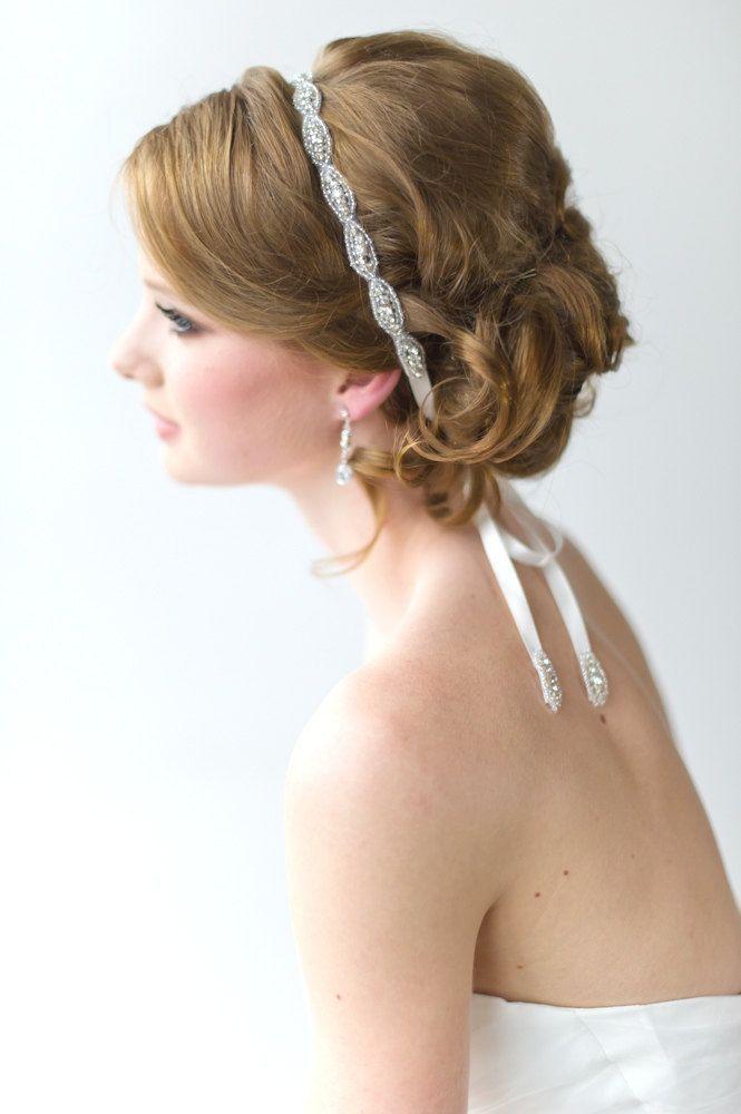 Bridal Ribbon Headband, Luxe Satin Ribbon Headband, Wedding Head Piece, Beaded Ribbon Headband