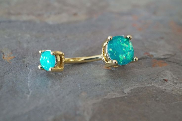 Teal opal gold belly button rings, opal belly ring. Glowing teal synthetic opal…
