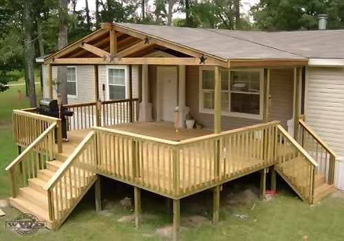 Photos of modular home deck plans double triple wide for Pictures of porches on mobile homes