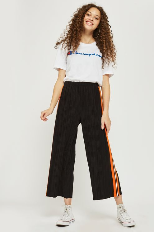 Side Striped Plisse Wide Leg Trousers