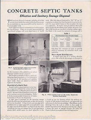 CONCRETE SEPTIC TANKS PORTLAND CEMENT CO NY VINTAGE GRAPHIC ADVERTISING FLYER