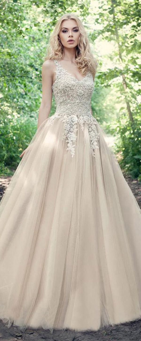 Fabulous Tulle V-neck Neckline Ball Gown Wedding Dresses ...