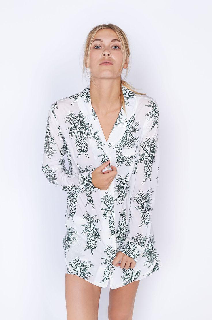 Howie Pineapple Print Short Luxury Cotton Womens Pyjama Set - White