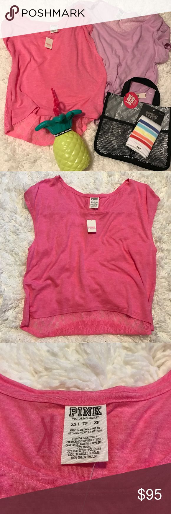PINK Summer Travel Bundle! Perfect PINK Victoria's Secret bundle for the summer!  Includes:  1 bralette (small)  Pineapple cup Black and white logo Bath/shower caddy Rainbow Crew socks Lilac Slouchy Top (xs) Pink Lace top (xs)  All PINK! Everything is NWT except the lilac Top and bralette which are NWOT!  All will fit a small or xs! PINK Victoria's Secret Tops Tees - Short Sleeve