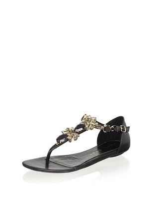 67 OFF Lola Cruz Womens Jeweled Flat Sandal Negro