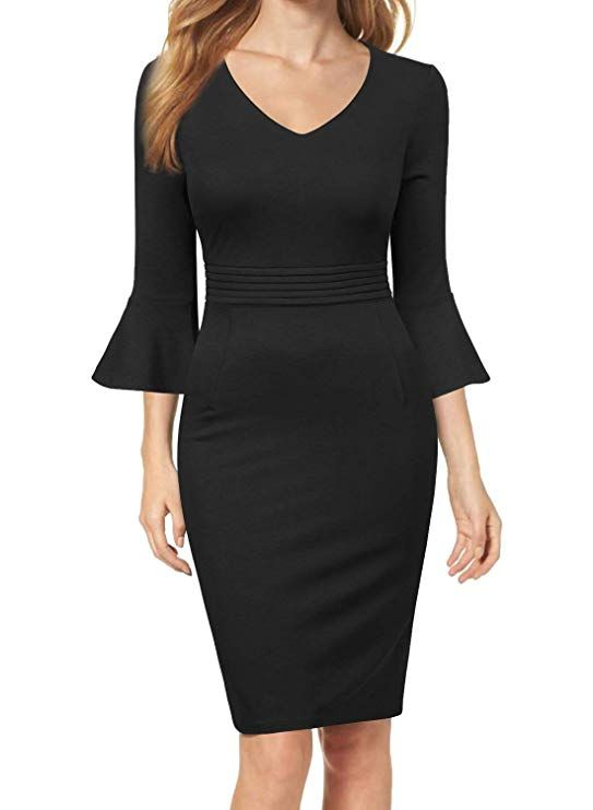 0faa0e46820 WOOSEA Womens Flounce Bell Sleeve V Neck Slim Bodycon Business Pencil Dress