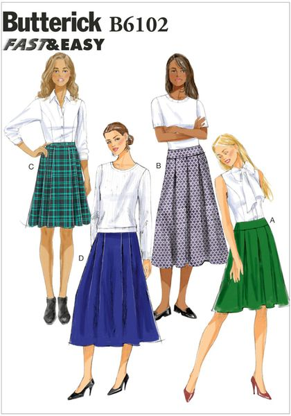 MISSES' SKIRT: Skirt is semi-fitted through hips. A,B: contour waist and yoke, pleats and back zipper. C,D: waistband, pleats and back zipper.  Designed for light- to medium-weight woven fabrics.  FABRICS: Linen, Broadcloth, Tweeds, Gabardine.