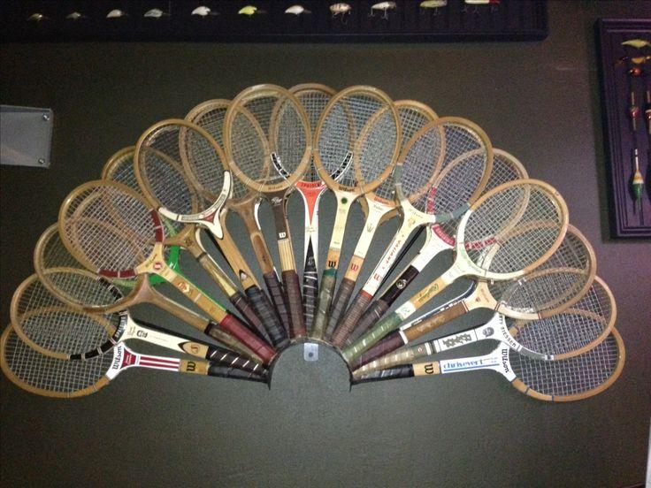Vintage tennis racket wall decor