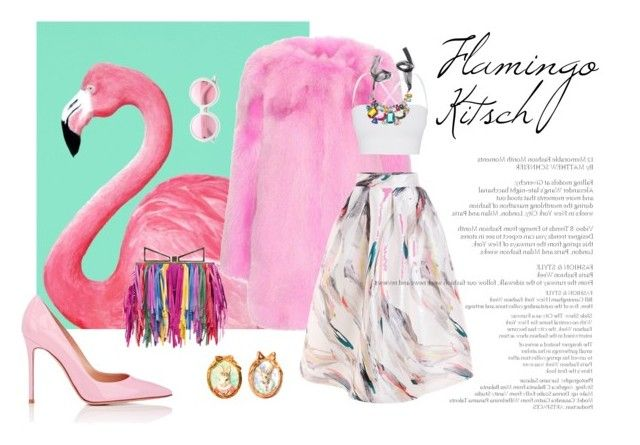 """Flamingo B*tch"" by estebban-aguila on Polyvore featuring Gucci, Sara Battaglia, Theory, Gianvito Rossi, Hop Skip & Flutter, ZeroUV, flamingo, kitsch, pinkpower y FashionEnthusiast"