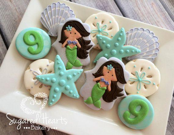 Mermaid Cookies Brunette - 1 Dozen