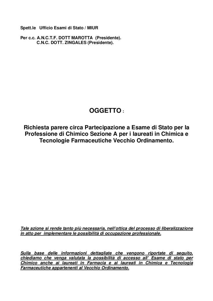 M.luisetto, m.fidani  richiesta al miur 3 maggio 2012   art. numero 1 del  3.10.14 chemists pharmacists international journal  ( on line linkedin resource) by Chimici  farmacisti : a group interested in chemistry field via slideshare