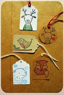 zelfgemaakte stempels contemporary illustration christmas tag or card printing designs