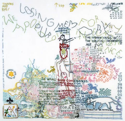 Tilleke Schwarz is a Dutch artist who layers doodles, words, diaries, graffiti, shopping lists, and other literary and visual information in her embroidered works which she sees as a visual poetry.