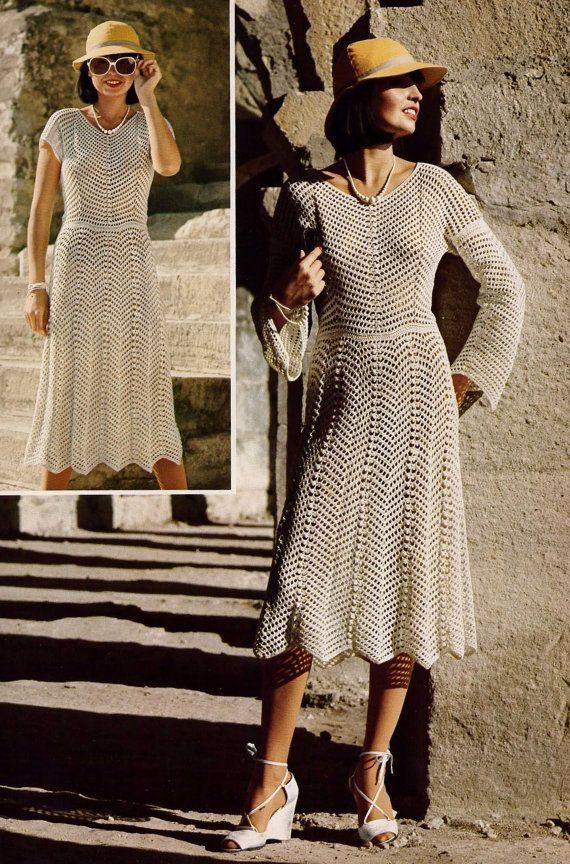 Chevron Lace Short Or Long Sleeved Dress PDF Vintage Crochet Pattern