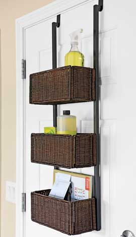 Over the Door Storage Rack, Wicker Basket Door Rack | Solutions  This will be perfect for kids bathroom--especially if I can get the towel hooks off the back of the door (buy the double shower curtain rod that you hang towels on too ... See separate pin for that)