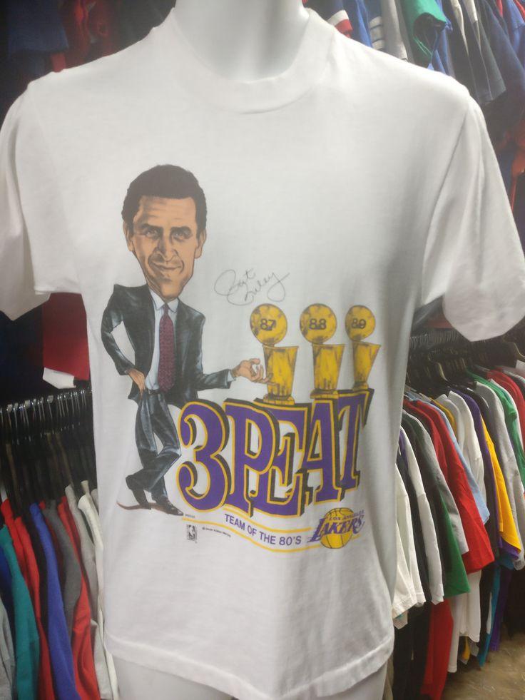 Vtg '87-'88-'89 PAT RILEY Los Angeles Lakers NBA Caricature T-Shirt M
