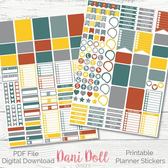 Rustic Metal Weekly Planner Stickers Colorful 2 Sheets PDF Instant Download Erin Condren Mambi Printable Sticker Pack by danidolldesignsx