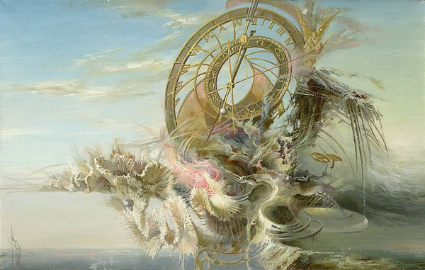 SPIRAL OF TIME by SERGEY GUSARIN.  Bellongs to the Gallery RUSSIAN ARTISTS NEW WAVE.   Time Spiral - some certain structure wich remaining the huge clock is rising against the clear sky. The running time is so swift. Graceful arrows count the hours and days of our lives. Coral formations resemble fluttering wings of angels.  #RussianArtistsNewWave #painting #OriginalPainting #ArtForSale #SegeyGusarin  #InteriorDesign #ArtForHome #OriginaPaintingForSale #FantasyArt #Time