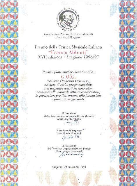 """Diploma del Premio della Critica Musicale Italiana """"Franco Abbiati"""" 1998 per la miglior iniziativa musicale  www.gog.it"""
