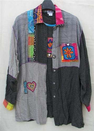 Black Colorful L Rayon Nothing Matches Faith Celia Forrester Top Jacket Funky | eBay