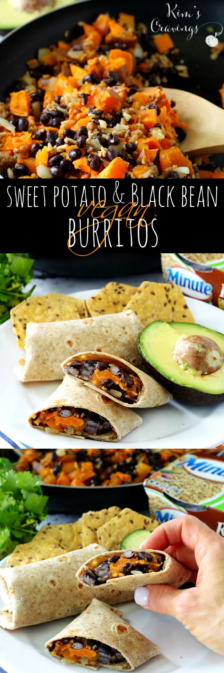 Delicious Sweet Potato and Black Bean Vegan Burritos come together super quick with the help of @MinuteRiceUS! (CelebrateMinuteRice AD)