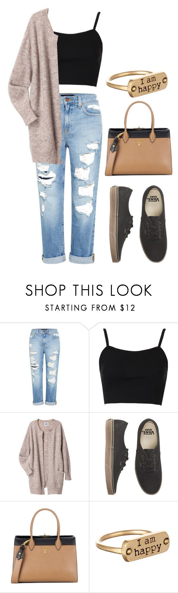 """""""Fall outfit"""" by hola-hi ❤ liked on Polyvore featuring Genetic Denim, Topshop, Acne Studios, Vans, Prada, Dogeared, Fall, vans, fallfashion and fall2017"""