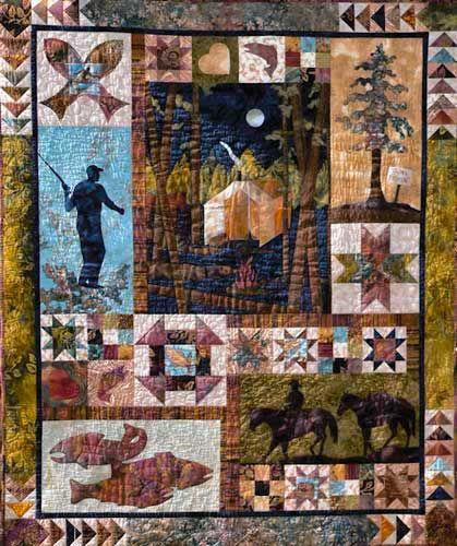 "QP3983 ""Gone Fishin"" Quilt Pattern by June Jaeger Log Cabin Quiltworks"