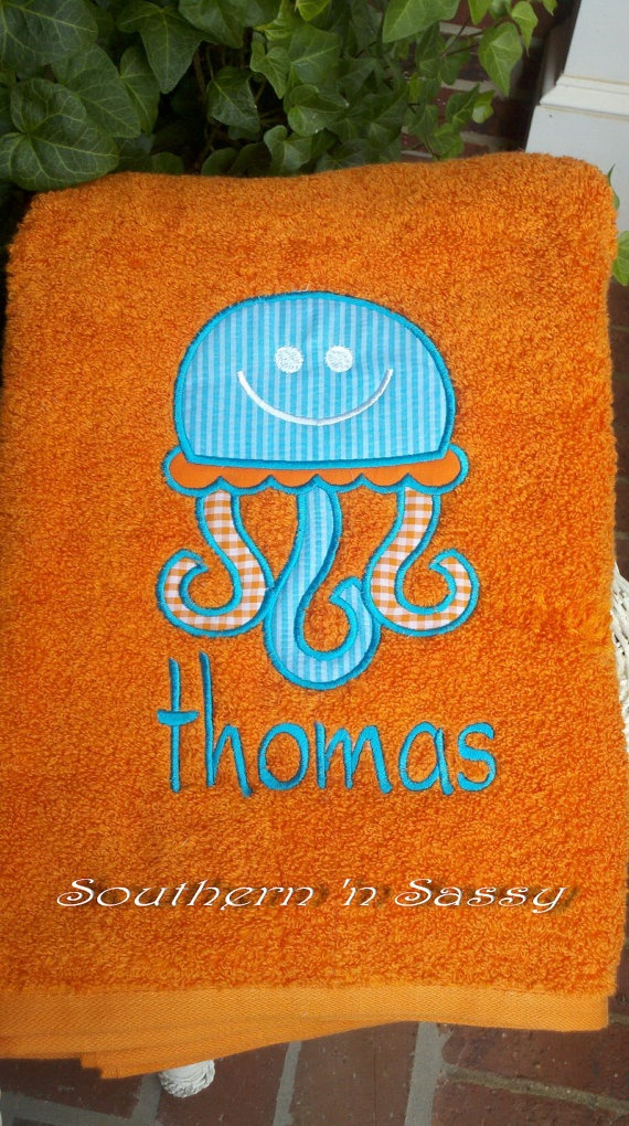 Personalized Large Appliqué Jelly Fish Towel For Pool, Beach Or Bath. $25.00, via Etsy.