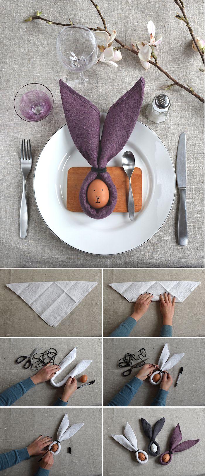 activité manuelle pour une déco de pâques, arrangement de table élégant en gris et violet, couverts de table