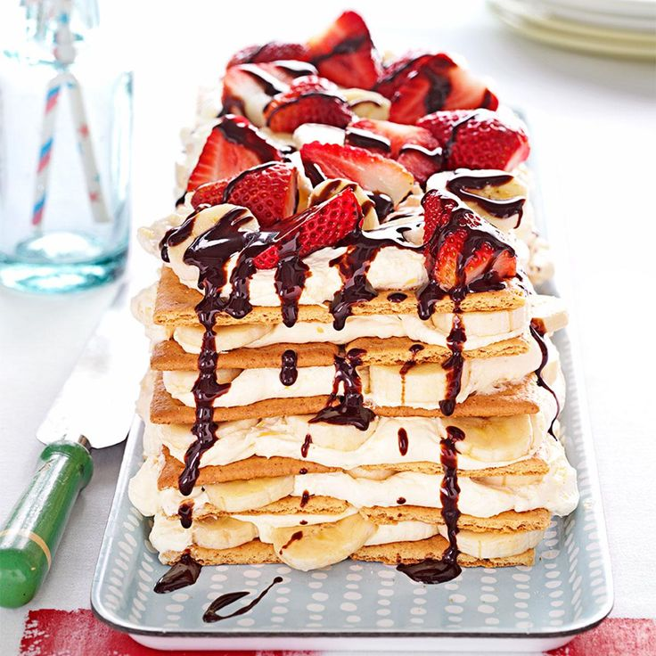 Banana Split Icebox Cake Recipe -Salute Ohio's annual banana split festival with an easy version that turns graham crackers and toppings into icebox cake. —Shelly Flye, Bangor, Maine