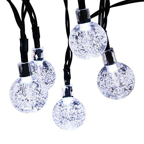 Qedertek Globe Solar String Lights 197ft 30 LED Fairy Lights Outdoor Solar Lights for Home Garden Patio Lawn Party and Holiday Decoration White *** Click image for more details.
