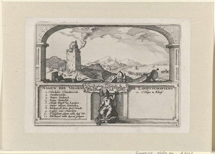 Claes Jansz. Visscher (II) | The Lighthouse at Zandvoort, Claes Jansz. Visscher (II), c. 1611 | Gezicht op de vuurtoren van Zandvoort, gevat in een boogvormig venster. Op de voorgrond boek- en drukkersattributen. Onder het tafereel twee kaders waartussen en visser zit. Links en rechts van de visser de nummers en namen van de topografische plaatsen die tot de serie 'Gezichten bij Haarlem' behoren.