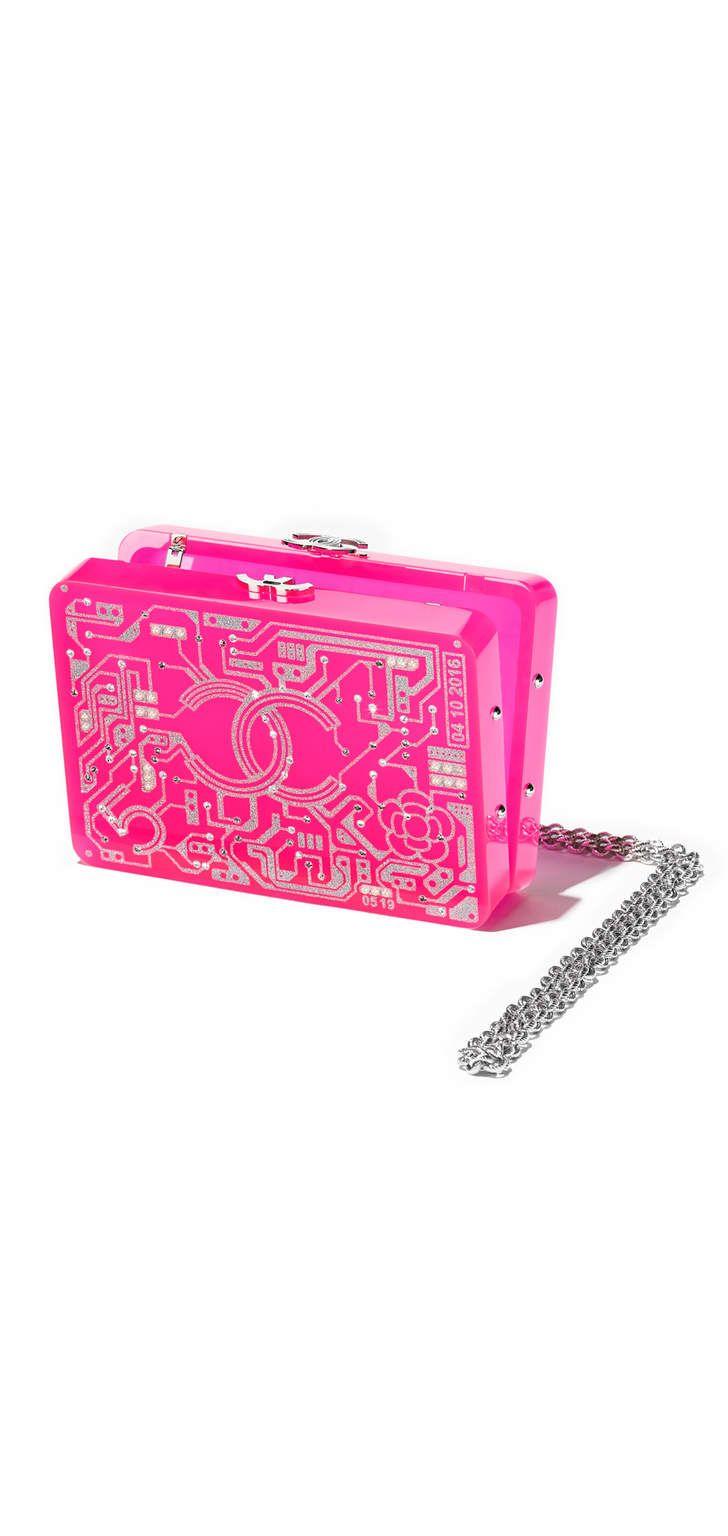 вечерняя сумка, смола, стразы и серебристый металл-розовый и серебристый - CHANEL ШАНЕЛЬ