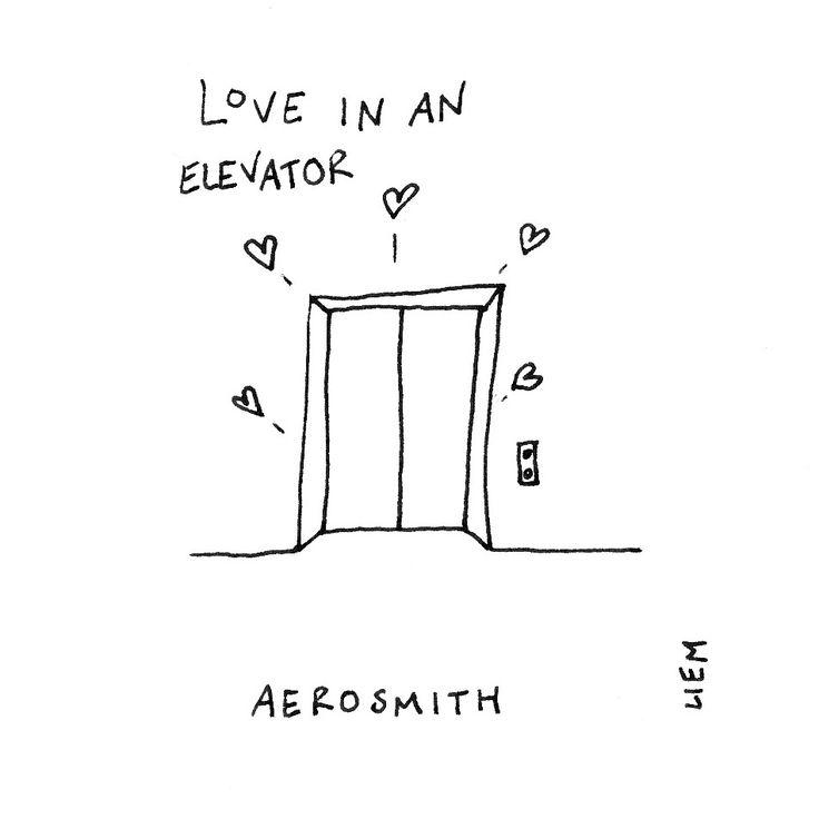 Aerosmith. Love In An Elevator. 365 illustrated lyrics project, Brigitte Liem.