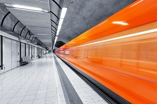 The orange metro trains designed by Antti Nurmesniemi in Helsinki, Finland
