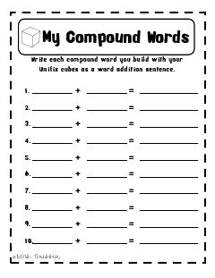 I can put this with the unifix cubes that are made with compound words.. store the words in a baggie!