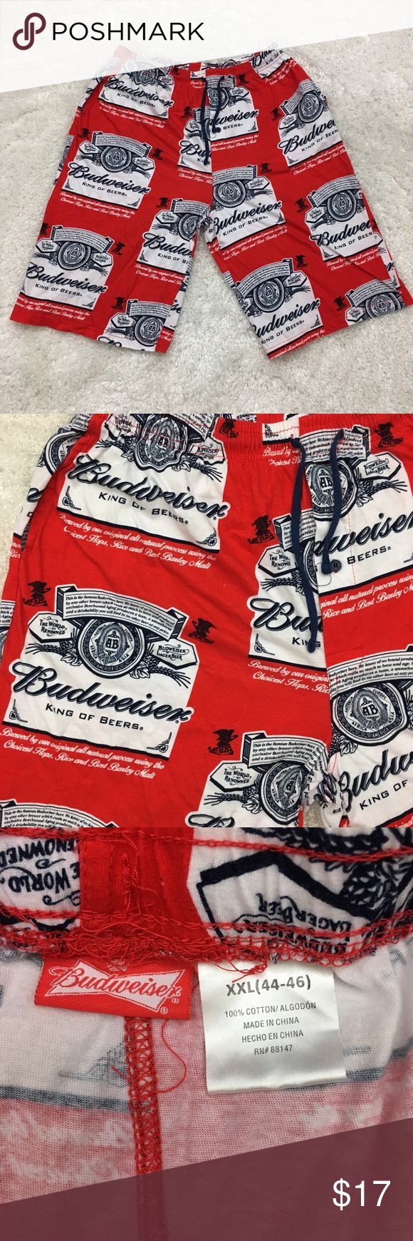"""Budweiser Beer men's lounge shorts, pajama shorts Budweiser Beer logo men's lounge/sleeping shorts  Size XXL 44-46 Waist laid flat 16"""" expandable ***Fully expanded waist is 25""""*** Rise 14"""" Seam 12""""  Good condition.  No stains or holes.  Freshly washed.    Please see all pictures for details or ask questions prior to purchase to avoid returns.  Check out my store for more items on sale! Budweiser Beer Shorts"""