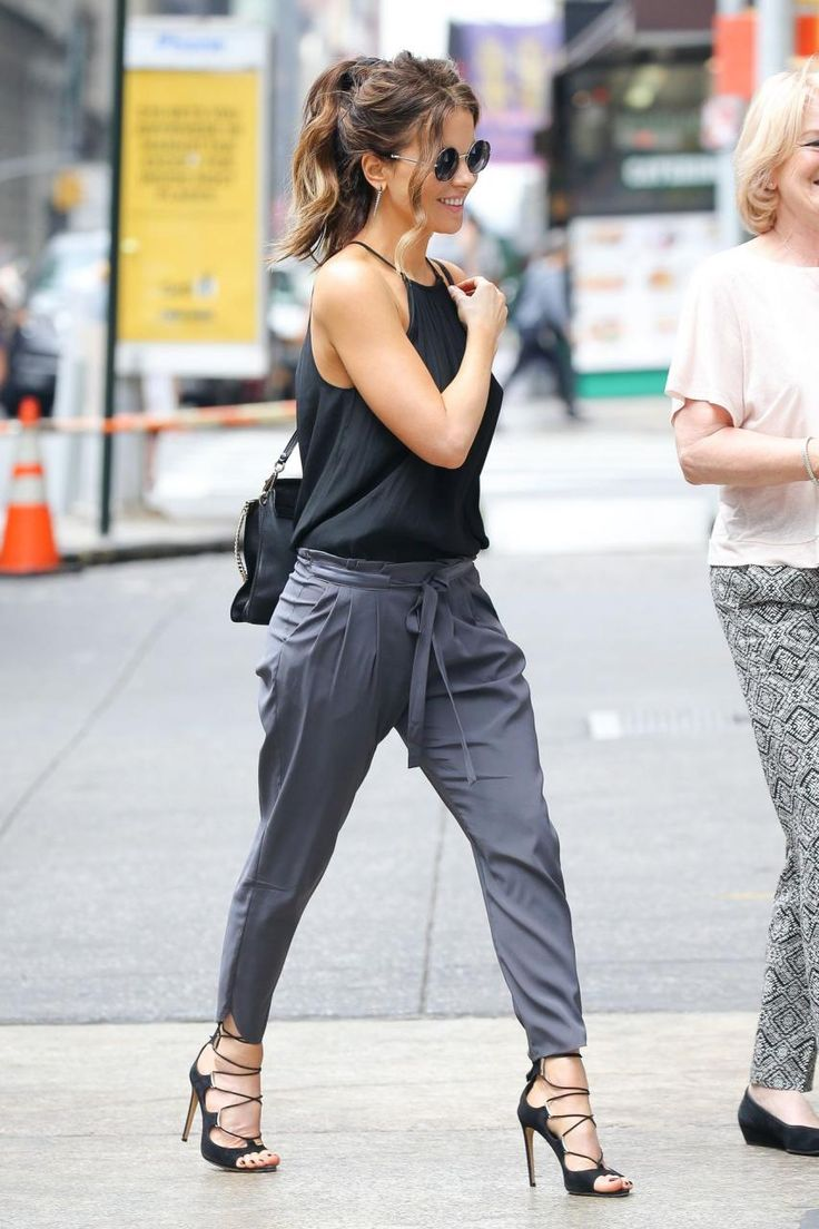 Kate Beckinsale wearing Chloe Medium Faye Shoulder Bag, Ramy Brook Enya Top and Ramy Brook Allyn Pants in Light Grey