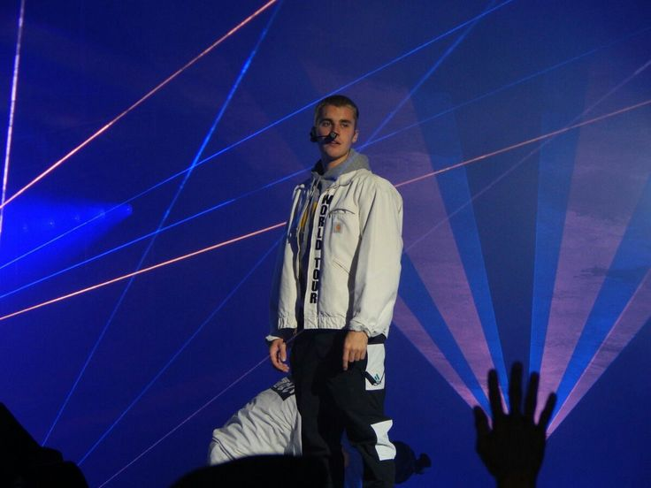 Photo of Justin Bieber onstage performing at the #PurposeTourStadiums show in Bogotá, Colombia. (April 12)