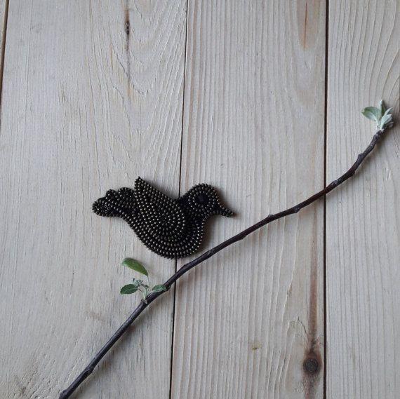 Bird Brooch Bird metal brooches Bird jewelry Zipper by ZASTIBKA
