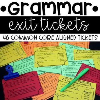 46 grammar exit tickets are included. Tickets are printed four to a page. Two tickets for each Common Core topic are included. The first ticket is more of a free response style or application style, while the second ticket includes multiple choice/test prep style questions.