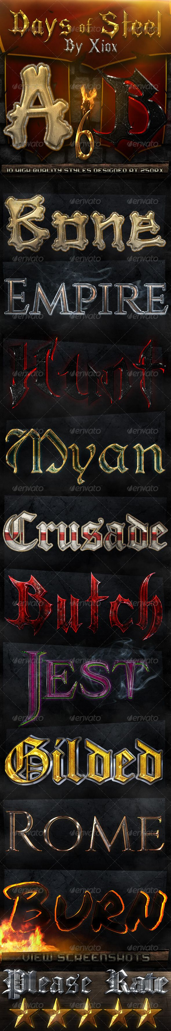 """Days of Steel -Style Pack 6-  #GraphicRiver         10 styles based on ancient and medieval history and myth. This pack is the sixth part of a series in which you will see up to 60 different styles and at least 6 different banners. MAKE SURE TO SEE THE SCREENSHOTS for more information on what you get. Comes with: An ASL file with each style depicted. The banner shown in """"Screenshots"""". A Read-Me file with sizing information, information on how to fix a texture and information on how to…"""