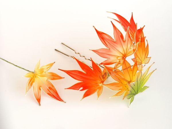 ◆紅葉◆もみじ◆簪◆髪飾り◆ディップアート◆蒼翠◆_画像3