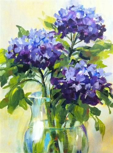 "Daily Paintworks - ""Hydrangea Heaven"" - Original Fine Art for Sale - © Libby Anderson"